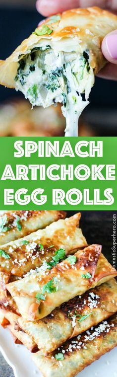 Your favorite Creamy Spinach Artichoke Dip is stuffed into egg roll wrappers and quickly fried to make these mouthwatering Spinach Artichoke Egg Rolls! PERFECT for the Super Bowl! Yummy Appetizers, Appetizer Recipes, Snack Recipes, Cooking Recipes, Snacks, Wonton Recipes, Italian Appetizers, Game Recipes, Appetizer Ideas