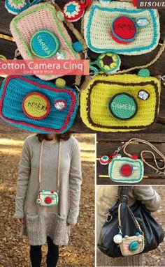 Surprise DIY super cute knitted or crochet  Pretend camera bags
