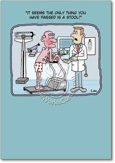 Funny Cartoon Medical Test Birthday Greetings Card