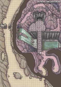 CrossheadStudios Cave Entrance to a Dungeon Battlemap for D&D, Dungeons and Dragons, Pathfinder, and other RPG games. Dungeons And Dragons Homebrew, D&d Dungeons And Dragons, Rpg Maker, Dwarven City, Dnd World Map, Fantasy City Map, Pen & Paper, Map Layout, Dungeon Maps