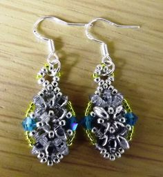 Yellow, Blue  & Silver Oval Super Duo Glass Beaded Dangle Earrings Silver Hooks
