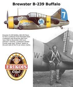 Brewester B-239 Buffalo Ww2 Aircraft, Fighter Aircraft, Aircraft Carrier, Military Aircraft, Finland Air, Brewster Buffalo, Finnish Air Force, Military Drawings, Experimental Aircraft