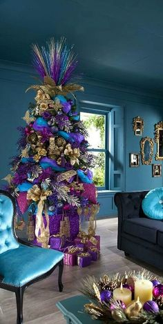 Unque Colorful Pink Purple Blue And Gold Xmas Tree Decorations With Gift And Gold Mongstad Mirror In Elegant Indoor Blue Painted Wall For Enchanting Xmas Home Decoration Ideas. Adorable Xmas Tree Decorations Ideas For You Noel Christmas, Primitive Christmas, Christmas Themes, All Things Christmas, White Christmas, Modern Christmas, Turquoise Christmas, Christmas Colors, Coastal Christmas
