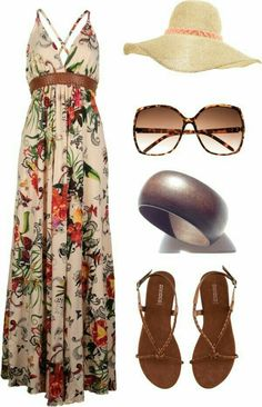 Trends For - Maillot de bain : / Long Beach Dress + Hat - Mode Hippie, Mode Boho, Mode Outfits, Casual Outfits, Fashion Outfits, Womens Fashion, Dress Fashion, Woman Outfits, Spring Summer Fashion