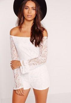 Lace Long Sleeve Bardot Playsuit White