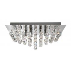 Hanna 8 Square Polished Chrome And Crystal Ceiling Light