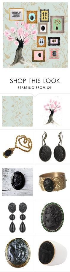 """""""Mourning Cameos"""" by glamourgrammy ❤ liked on Polyvore featuring Timorous Beasties and Amedeo"""