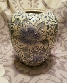 Vintage Floral Pottery Vase Blue white and Green