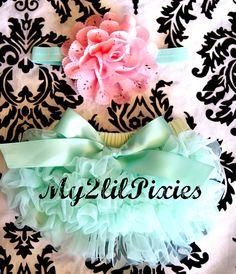 ready to ship-Baby Girl Headband and Ruffle Bum tutu Baby Bloomer Set, Shabby Chic Headband. Flower headband, Newborn Photo Prop, Cake Smash on Etsy, $17.75