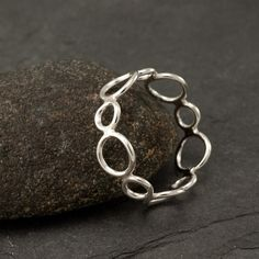 Handmade Sterling Silver Ring -Silver Circles Ring- Circle Ring Band- Modern Silver Jewelry -6, 7, 8, 9