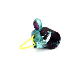 ring, oxidized copper, acrylic, nylon. Letitia Pintilie, 2014.