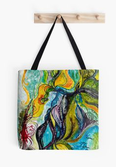 Sailing away tote bag by Spring-fae  Sailing away from reality  Traditional acrylic painting on paperboard  Tote Bags surreal, colorful, sailing away, sailing, dreamy, kelpie, water, sea, blue, green, flourish, ornamental, swirl, abstract, nonfigurative, nonfig, flowers, leaves, spirals, spirals and swirls, underwater, seaweed, kelp, moss, swimming