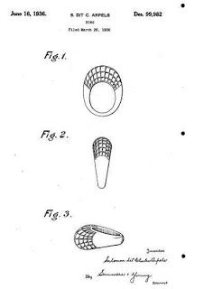 Patent for mystery set ring, June 1936. Design for ring by Rene Sim Lacaze