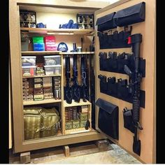 Firearms and the Protection of Family – Bulletproof Survival Hidden Gun Storage, Ammo Storage, Weapon Storage, Weapons Guns, Guns And Ammo, Ninja Weapons, Gun Safe Room, Tactical Supply, Tactical Gear