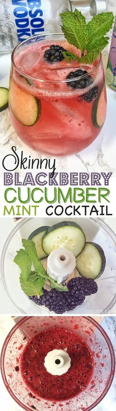 Healthy Skinny Vodka Cocktail Recipe -- Vodka LaCroix Blackberry Cucumber Sparkling Water Fresh Blackberries Cucumber Mint Leaves Fresh squeezed or store-bought lime juice