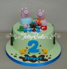 A cake for my lovely Nephew's Birthday. He loves Peppa Pig, especially George, so this is George Pig's birthday picnic! 2nd Birthday Cake Boy, Peppa Pig Birthday Cake, Bithday Cake, Picnic Birthday, Bolo George Pig, Shared Birthday Parties, Cake Pictures, Cake Pics, Dino Cake