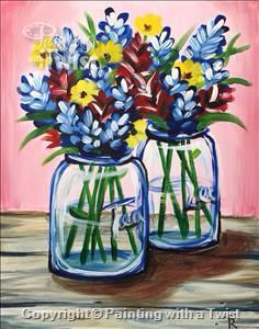 Painting With A Twist #PWAT #PaintingWithATwist Texas Wildflowers