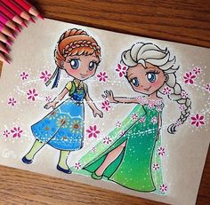 Here is the final version of Chibi Anna and Elsa with Fever style 🌸 Done with faber Castell polychromos colored pencils on a toned textured Kraft paper. Request from ⬇️ PRINTS AVAILABLE ⬇️ Link in my bio. Cute Disney Drawings, Disney Princess Drawings, Disney Princess Art, Disney Sketches, Cute Drawings, Disney Artwork, Disney Fan Art, Arte Disney, Disney Pixar