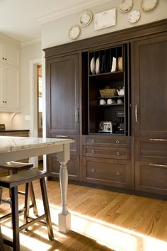 kitchen - pantry wall with doors that fold in to use drink station.  (mini frig with ice box there would be nice too)