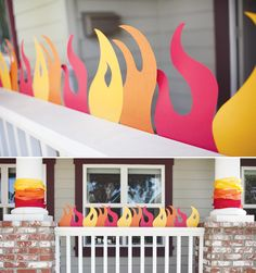 {Super Amazing} Fire Truck Birthday Party Love the paper-flame-decorations for a little boys fireman party.Or a Hunger Games party.Or for a faux campfire.The list goes on and on! Birthday Party Games, 4th Birthday Parties, Birthday Fun, Birthday Ideas, Garden Birthday, Birthday Backdrop, Hunger Games Party, Fireman Party, Firefighter Birthday