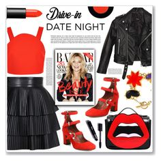 """drive-in date night"" by nanawidia ❤ liked on Polyvore featuring TIBI, Christian Lacroix, Nasty Gal, Tabitha Simmons, Balmain, Yazbukey, Topshop and NARS Cosmetics"