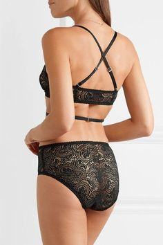 Lonely - Billie Stretch-lace And Satin Soft-cup Triangle Bra - Black - 32B