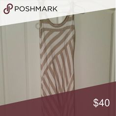 Calvin Klein Tan and White Maxi Dress Only worn twice. In excellent, like new condition. Very comfortable material. Calvin Klein Dresses Maxi