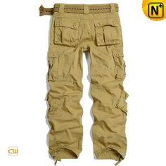 Plus Size Khaki Cargo Pants for Men CW100014