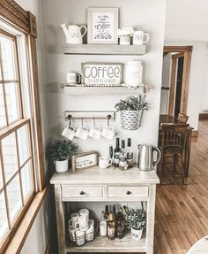 Cute Coffee Station Ideas – Searching for coffee bar ideas? By picking a distinc… Cute Coffee Station Ideas – Searching for coffee bar ideas? By picking a distinct location to position all your coffee making basics, you will have the capability to appreci Coffee Bars In Kitchen, Coffee Bar Home, Home Coffee Stations, Home Decor Kitchen, Home Kitchens, Diy Home Decor, Room Decor, Kitchen Ideas, Diy Rustic Decor