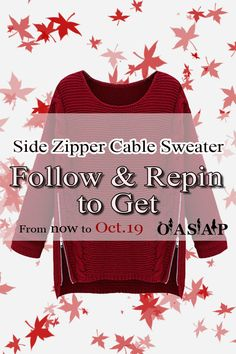 Oasap Giveaway ☆ Just FOLLOW @OASAP on Pinterest and REPIN this pic, you have chance to Get the $22.72 sweater For Free~
