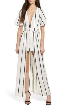 Free shipping and returns on Socialite Walk Through Stripe Overlay Romper at Nordstrom.com. This modern mash-up combines the sweeping movement of a maxi with the easy-to-wear comfort of a jumpsuit. A plunging neckline and a cutout back make the look even more attention-grabbing.