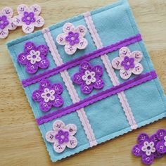 Wool Felt Travel Tic Tac Toe Game Light Blue with Pink and Purple Flowers