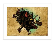 Boar - The Beasts Within Series, Neo-Traditional Tattoo Flash, Old School, Art Print 16x12