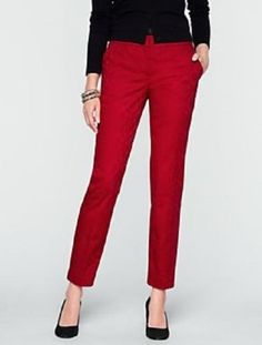 Talbots-Red-Floral-Jacquard-Signature-Fit-Dressy-Ankle-Pants-Size-14-Petite-NEW