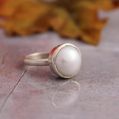 Silver Pearl ring  Bezel ring  Custom ring  Round by Studio1980