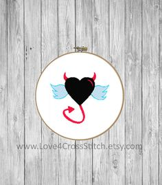 Devil Cross Stitch Pattern Funny, Angel Wings Cross Stitch, Angel Cross Stitch, Heart Cross Stitch Pattern Modern, Red Heart Cross Stitch  Different color version of this pattern can be found here: https://www.etsy.com/listing/524649367/angel-cross-stitch-pattern-funny-heart?ref=shop_home_active_2  This PDF counted cross stitch pattern available for instant download. Floss: DMC Fabric: AIDA 14-count ( other AIDA Fabric Counts may be used, the finished pattern wil...