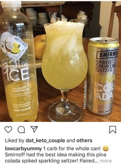 1 carb for the whole can!🍻 Smirnoff had the best idea making this pina colada spiked sparkling seltzer! Paired with it's a match made in heaven 😍🍍🥥🍍🥥🍻🥂 . 🥑 Join our Keto Challenge community with satisfied members 📖 The Keto Summer Drinks, Fun Drinks, Alcoholic Drinks, Mixed Drinks, Vodka Drinks, Liquor Drinks, Party Drinks, Keto Cocktails, Cocktail Drinks