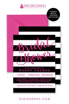 Black & white stripes bridal shower invitation with hot pink fuchsia details. Choose from ready made printed invitations with envelopes or printable bridal shower invitations. Silver shimmer envelopes also available. digibuddha.com