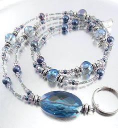 Bold Blue Rainbow Crystal Glass Beaded Lanyard ID Badge