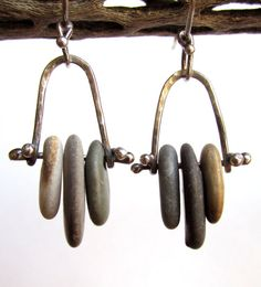 Earrings - Sterling Silver - Stacked Beach Stones - Trapeze Hoop - Silversmith - Soldered - RMD Designs