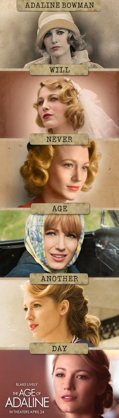 Something incredible happened that stopped Adaline from aging. Discover her magical journey in The Age of Adaline, starring Blake Lively and Michiel Huisman – In theaters April want to see this! Blake Lively, Movies Showing, Movies And Tv Shows, Love Movie, Movie Tv, Age Of Adaline, Little Dorrit, Chick Flicks, Chef D Oeuvre
