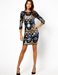 Asos, TFNC Bodycon Mini Dress Geo-Tribal Sequin - $105.26