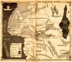Hyboria ~ this map appeared in the Conan trade paperbacks and if you look carefully you can see modern Europe is juxtaposed with Hyboria.