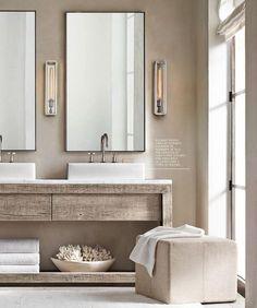 bathroom decor 9 Crazy Tricks: Bathroom Remodel Modern Window inexpensive bathroom remodel sliding b Bathroom Renos, Bathroom Interior, Master Bathroom, Bathroom Ideas, Bathroom Vanities, Industrial Bathroom, Bathroom Storage, Vanity Mirrors, Wainscoting Bathroom