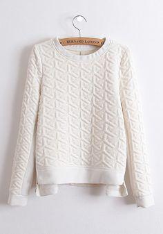 ++ white plain cascading ruffle round neck thick cotton blend sweatshirt