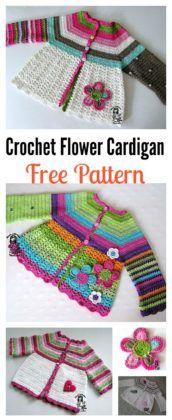 Free Crochet Flower Cardigan Sweater Pattern