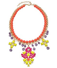 Blu Bijoux Gold Crystal Coral Yellow and Purple Chandelier Bib Necklace - Metal: Gold plated  Stone: Austrian crystal, resin Length: 16 1/2 inches, 3 inch extender Bib dimension: 5 1/2 x 3 inches