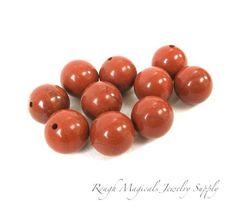 Brick Red Jasper Gemstones 10mm Round Beads  10 by RoughMagicals