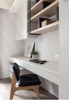 adore this sophisticated study nook with custom made storage shelves Interior Design Home Workspace Design, Home Office Design, Home Office Decor, Home Interior Design, Interior Architecture, House Design, Home Decor, Contemporary Architecture, Office Ideas