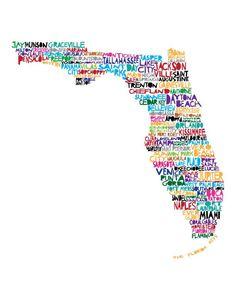 Large FLORIDA 11x12 - Digital illustration Print of Florida with Cities. via Etsy, mollymattin